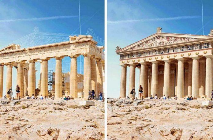 Dwa zdjęcia przedstawiające ruiny budynków