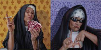Dwa obrazy: na jednym zakonnica gra w karty i pali papierosa, na drugim jest przebrana za rapera