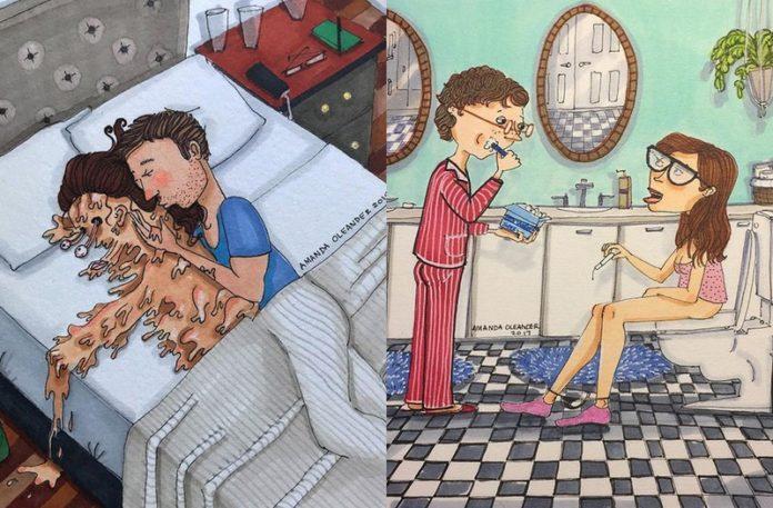 Dwie ilustracje przedstawiajace pary
