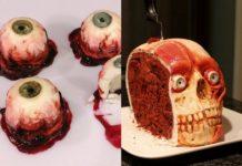 Ciastka w kształcie oczu i tort w kształcie ludzkiej czaszki