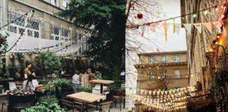 Dwa ujęcia na ogródek w restauracji Banjaluka