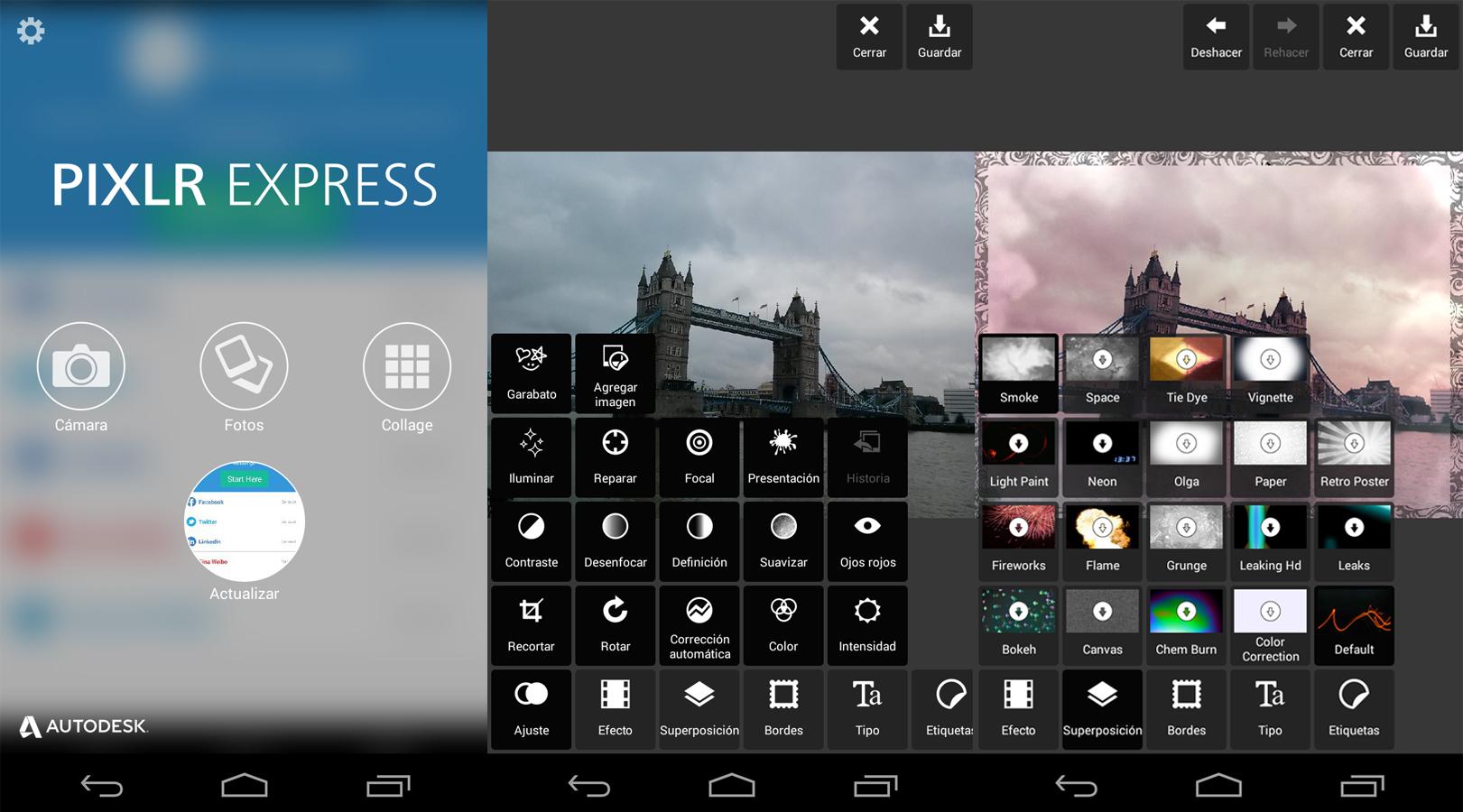 Z lewej strony zrzut ekranu z napisem Pixlr Express, po środku zrzut ekranu ze zdjęciem mostu i różnymi funkcjami, po prawej zdjęcie tego samego mostu po retuszu.Z lewej strony zrzut ekranu z napisem Pixlr Express, po środku zrzut ekranu ze zdjęciem mostu i różnymi funkcjami, po prawej zdjęcie tego samego mostu po retuszu.