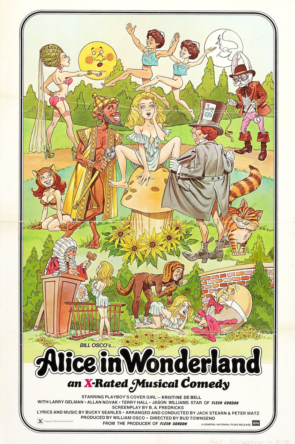 plakat promujacy film porno Alice in Wonderland an X-rated Musical Comedy