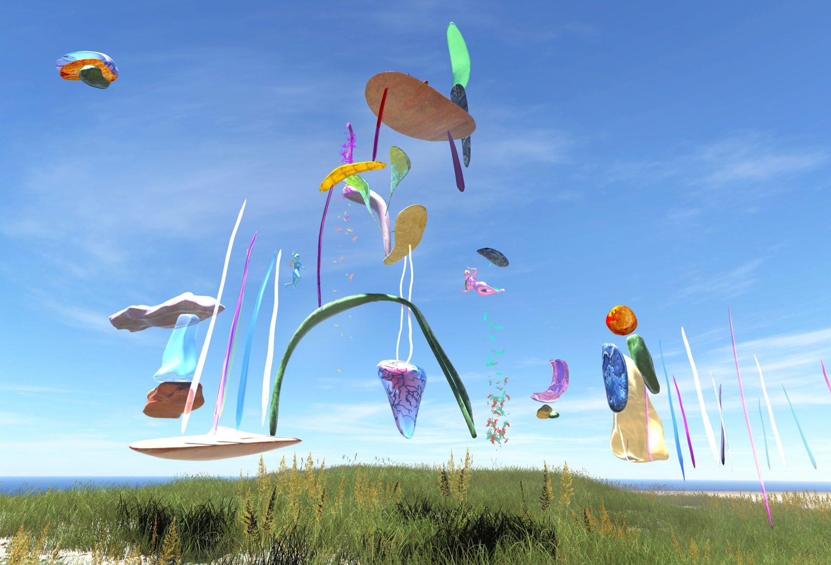 Kolorowe abstrakcyjne formy unoszące się nad ziemią na tle błękitnego nieba.