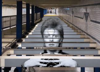 Portret Davida Bowiego na nowojorskiej stacji metra