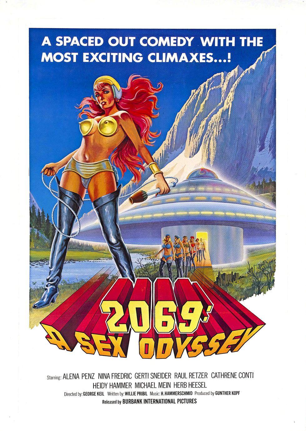 Ilustrowany plakat promujacy film porno w klimacie SCI-Fi 2069 A Sex Odyssey