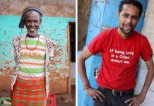 Dwoje ludzi ubranych w koszulki z napisami