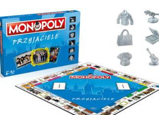 Pudełko, plansza i pionki z gry Monopoly Przyjaciele