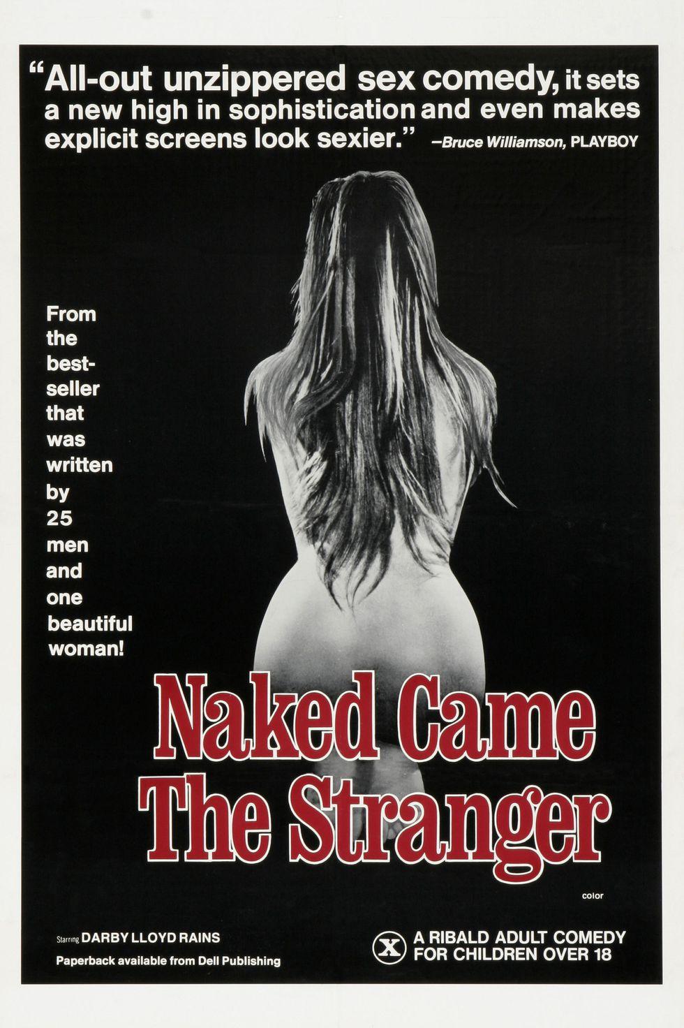 Czarno bialy plakat promujacy film porno przedstawia naga kobiete od tylu - Naked Came The Stranger