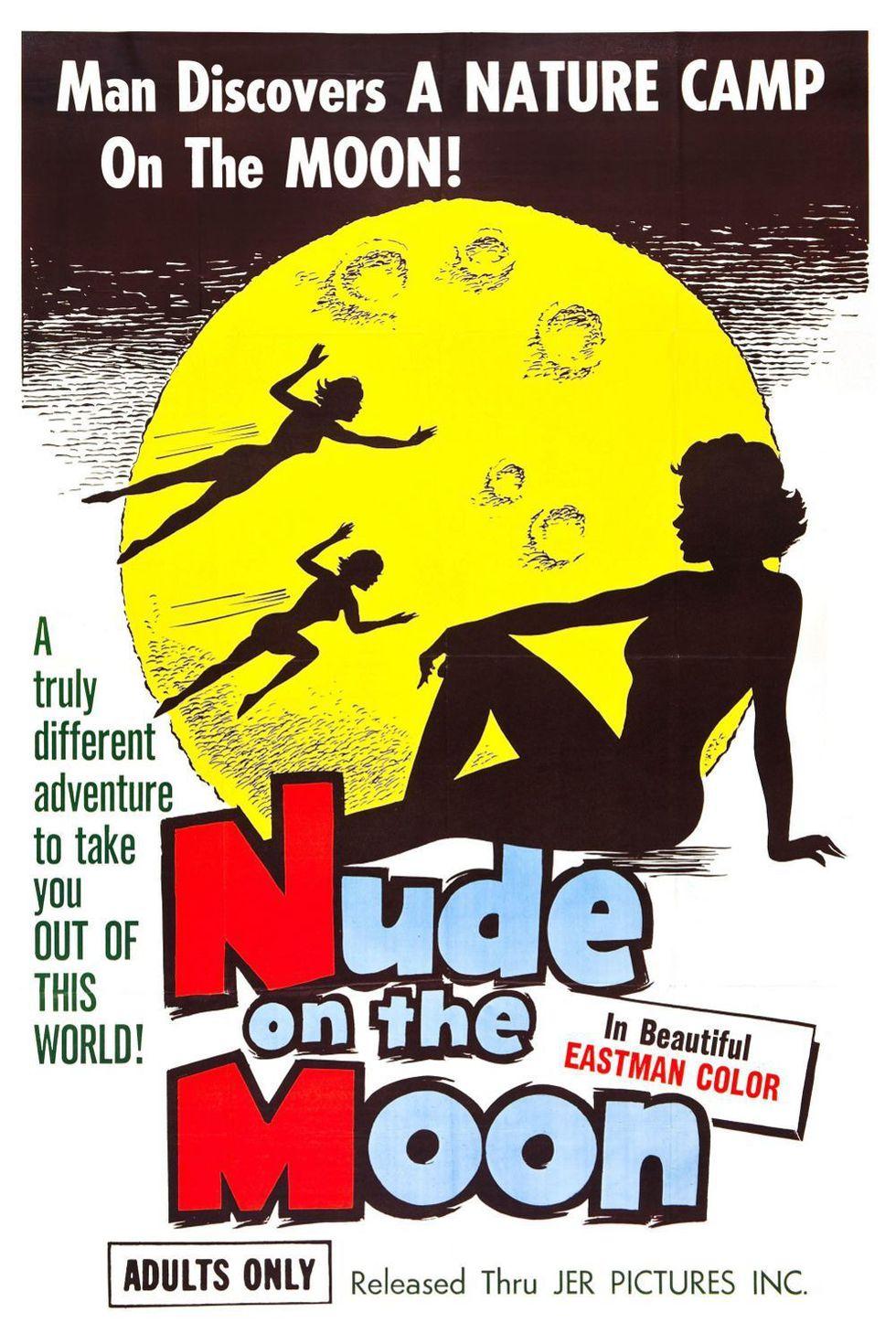 Ilustrowany plakat promujacy film porno Nude on the Moon