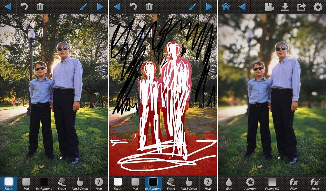Zdjęcie dwóch chłopców w czarnych spodniach, błękitnych koszulach i szybkich okularach, po środku to samo zdjęcie podczas edycji, po prawej to samo zdjęcie po retuszu.