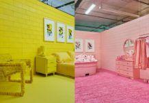 Dwa monochromatyczne pokoje: jeden cały żółty, drugi cały różowy