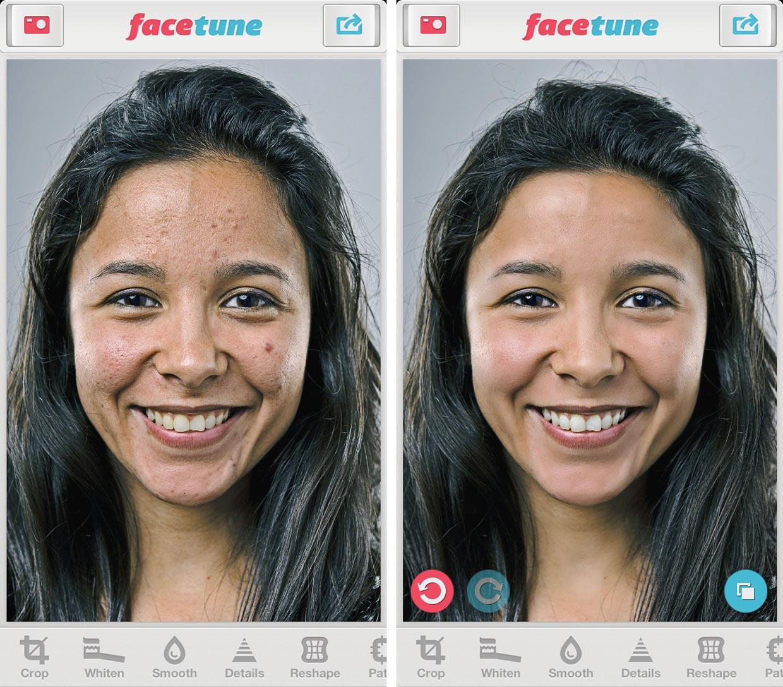 Po lewej zdjęcie dziewczyny o śniadej cerze z ciemnymi włosami z niedoskonałościami na twarzy, po prawej to samo zdjęcie po retuszu.