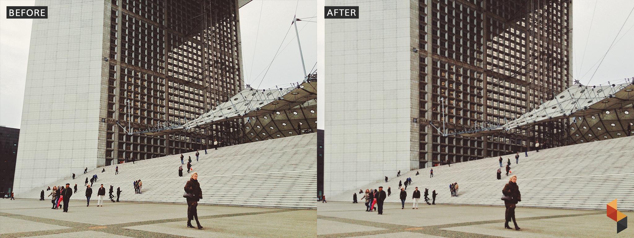 Po lewej zdjęcie nowoczesnego budynku, po prawej to samo zdjęcie po retuszu.
