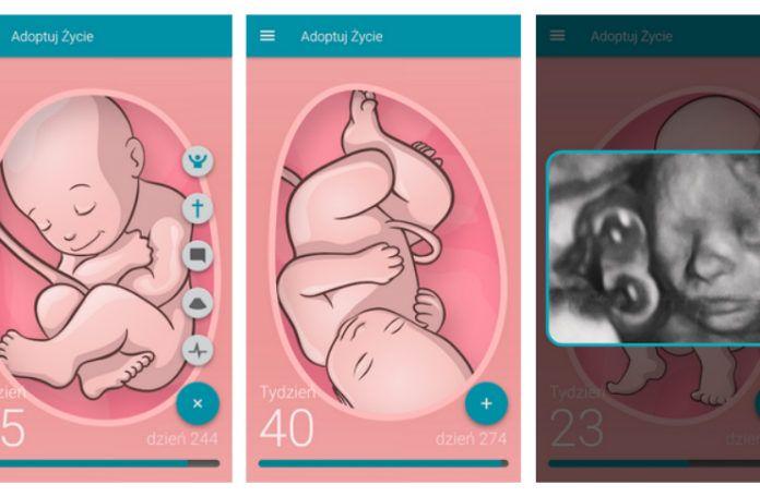 Zrzuty ekranu z aplikacji adoptuj życie
