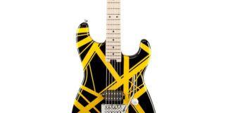 Czarna gitara w żółte paski
