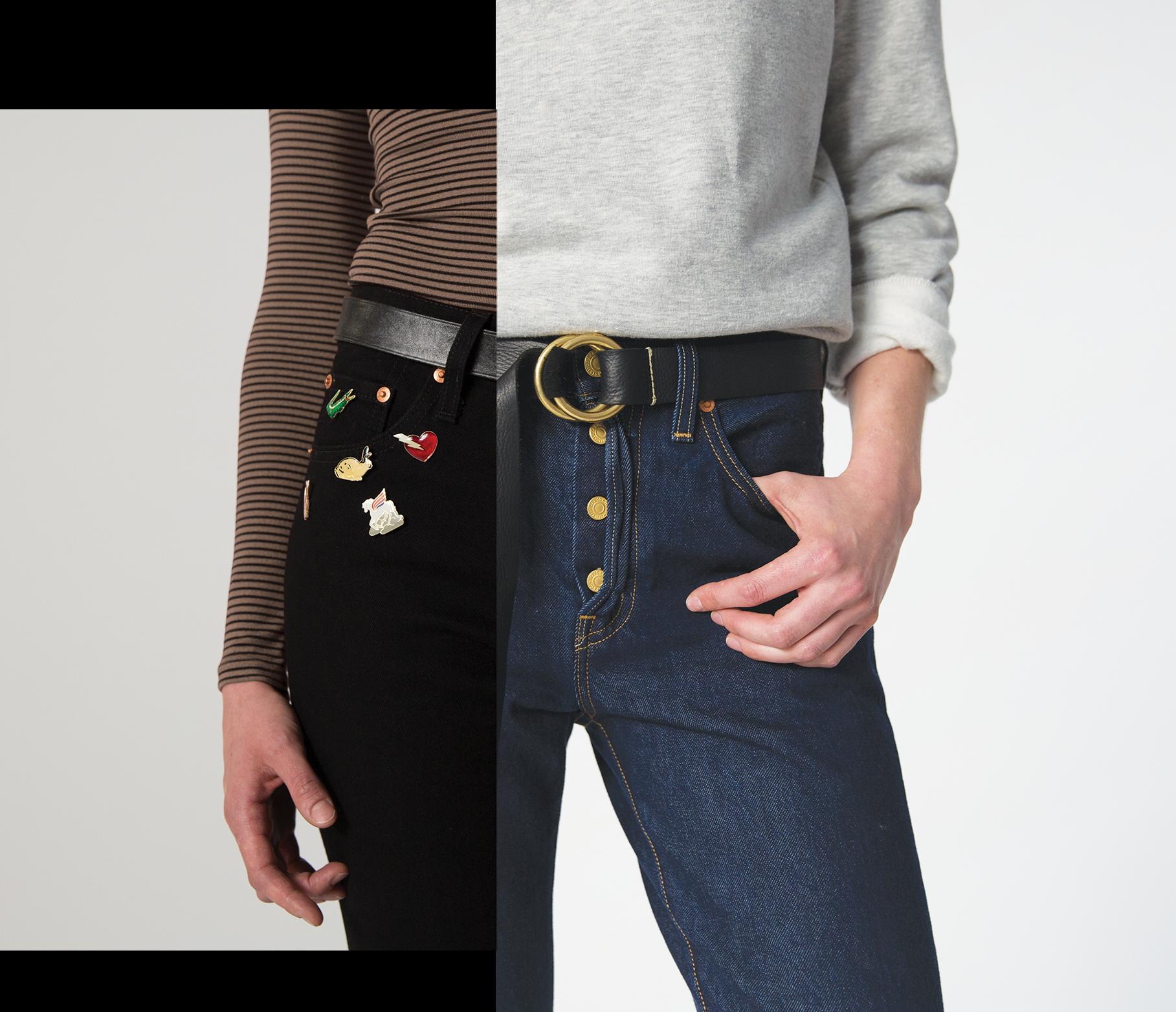 Kolaż dwoch zdjdec: z jednej strony spodnie z naszywkami, z drugiej spodnie ze złotymi guzikami