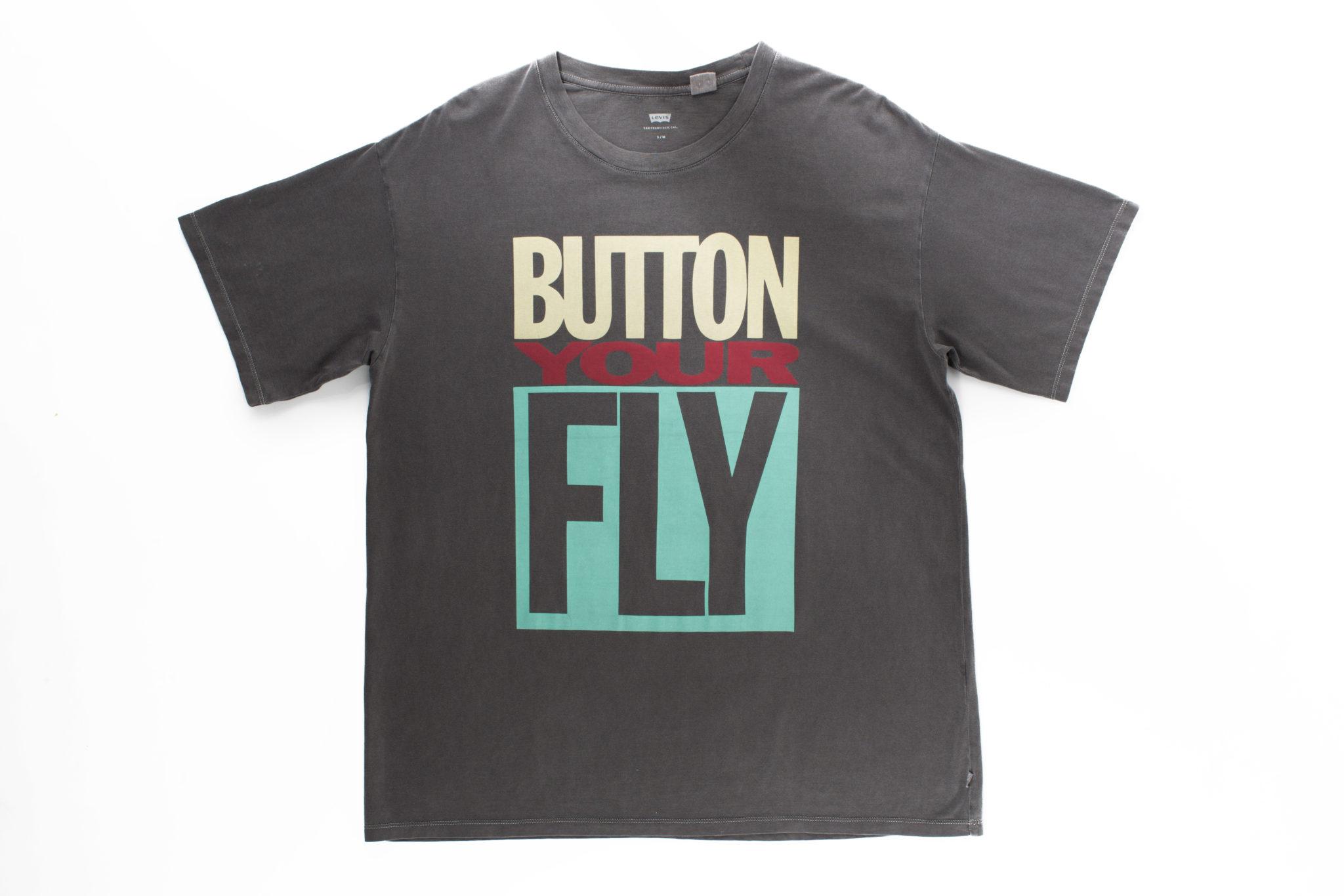 Koszulka z napisem Button Your Fly