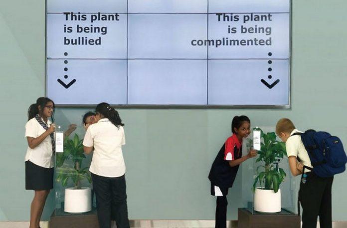 Dzieci stojące przy roślinach
