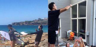 Dwa zdjęcia przedstawiające mężczyzn robiących zdjęcia swoim dziewczynom