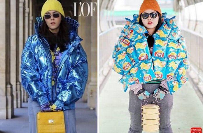 Dziewczyna w kurtce, a obok dziewczyna ubrana w paczki chipsów