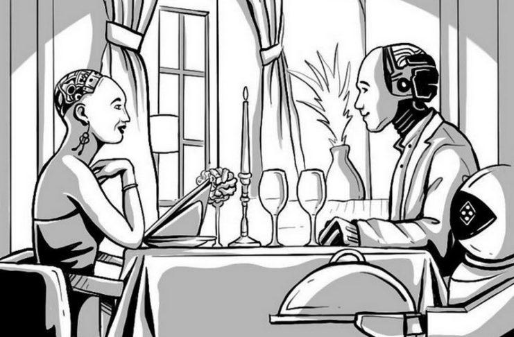 Rysnuek przedstawiający dwa ludzkie roboty na randce w restauracji