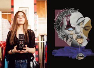 Na zdjeciu widzimy mloda dziewczyne trzymajaca w rekach aparat analogowy dziewczyna stoi w skepie z ubraniami obok surrealistyczny kolaż