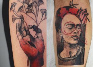 Dwa tatuaże: na jednym z dłoni wyrastają kwiaty, na drugim widzimy Fridę Kahlo