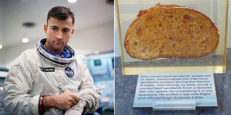 Zdjęcie astronauty, obok kanapka