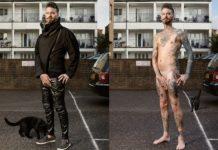 Mężczyzna na dwoch zdjeciach: na pierwszym ubrany, na drugim bez ubrania z tatuażami