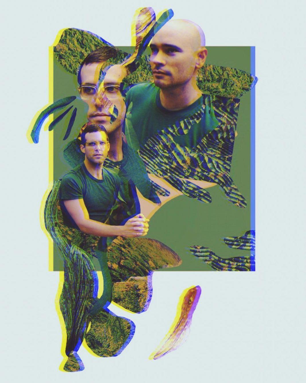 Na zdjeciu widzimy zielony kolaz przedstawiajacy rozne motywy