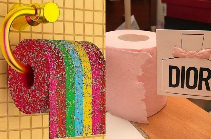 Papier toaletowy w kolorach tęczy z narysowaną posypką, a obok różowy papier toaletowy z napisem DIOR