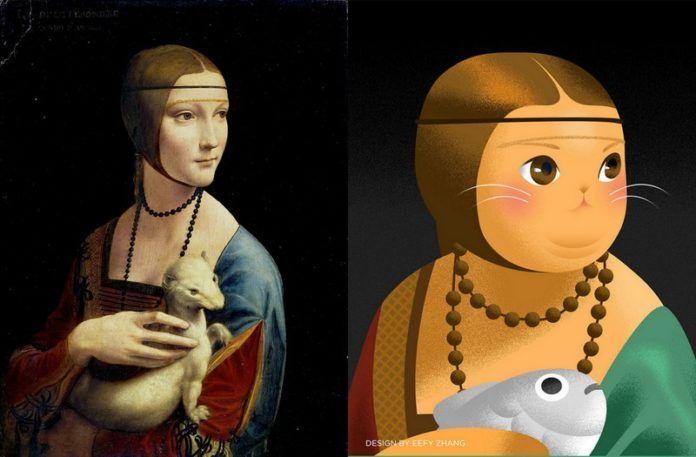 Obraz kobiety trzymającej łasicę, a obok kota trzymającego rybę w tej samej pozie