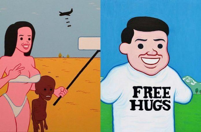 Dwie ilustracje: z prawej strony kobieta w bieliznie pozujaca z wychudzonym dzieckiem, drugie: mezczyzna w koszulce free hugs, bez rąk