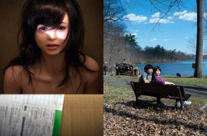 Seks-lalka w pudełku i na łąwce obok chłopaka