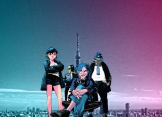 Animowane postaci na tle panoramy tokio