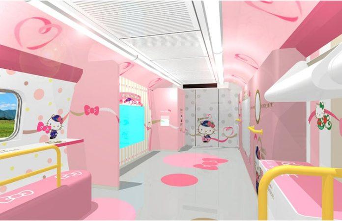 wizualizacja wnętrza z różowymi ścianami i dekoracją w formie białego kota w niebieskim uniformie.