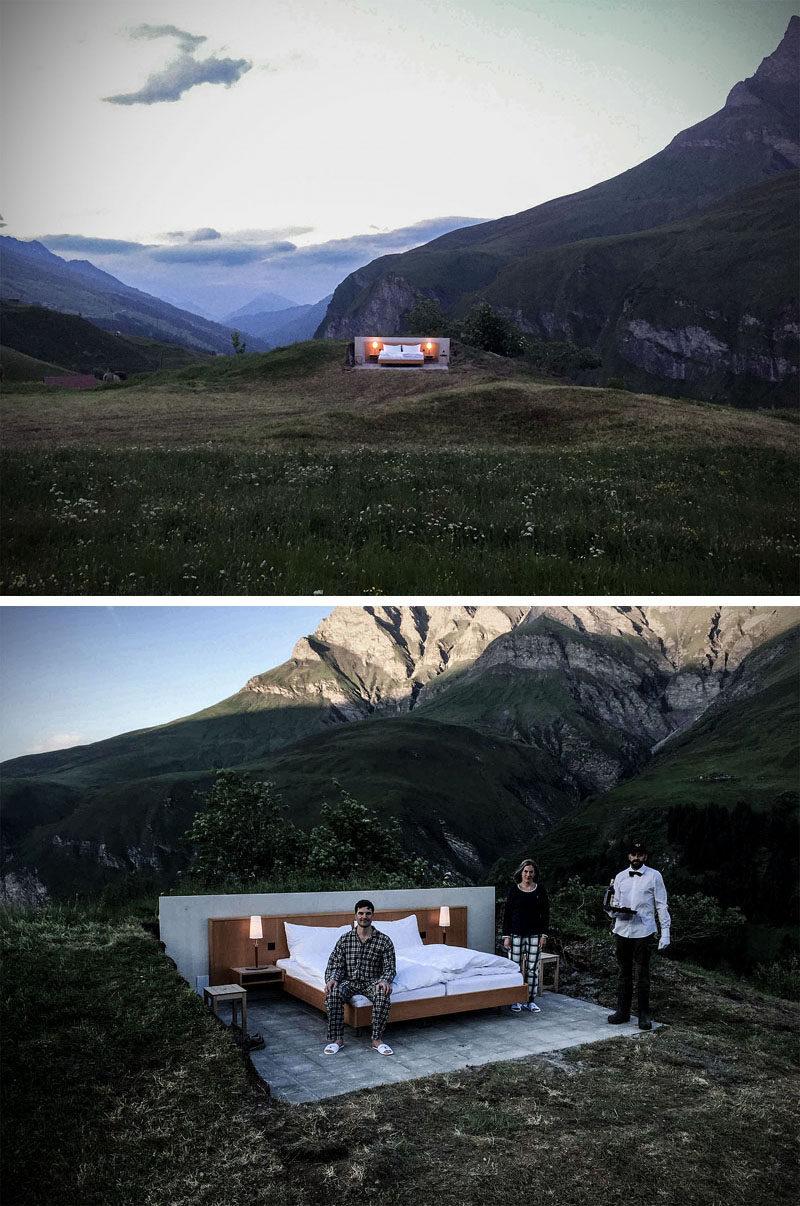 Kompilacja zdjęć przedstawiająca hotel na otwartym powietrzu