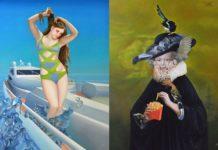 Dwa barokowe obrazy: jeden prezentuje kobietę w kostiumie kąpielowym, drugi kobietę ubraną na czarno z frytkami w dłoni