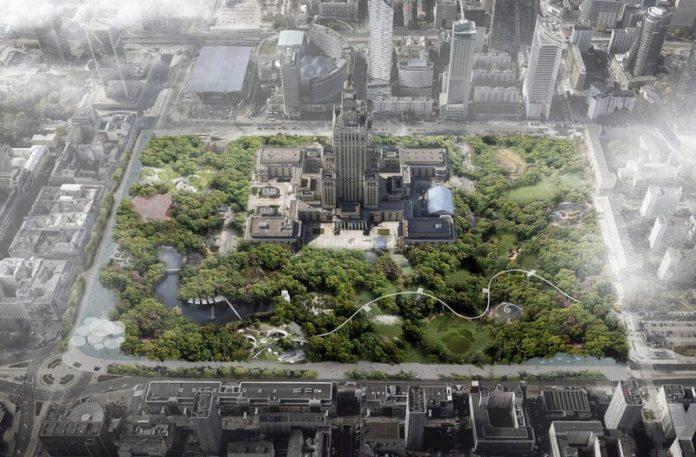 Wizualizacja przedstawiająca centrum Warszawy