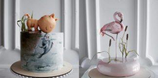 Dwa hiperrealistyczne torty: jeden z kotem, drugi z flamingiem