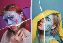 Dwie fotografie przedstawiające kobiety z pomalowanymi na niebiesko twarzami