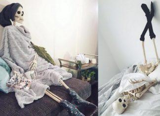 Dwa zdjęcia przedstawiające szkielety w codziennych sytuacjach
