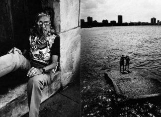 Dwie czarno-białe fotografie: na jednej kobieta z cygarem w ustach, na drugim dwójka ludzi na pomoście