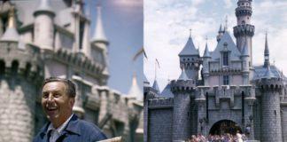 Zdjęcie przedstawiające mężczyzne na tle zamku i gromadę dzieci wbiegającą do zamku