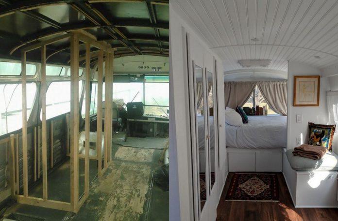 Wnętrze busa w trakcie budowy i wnętrze busa po przerobieniu na mieszkanie