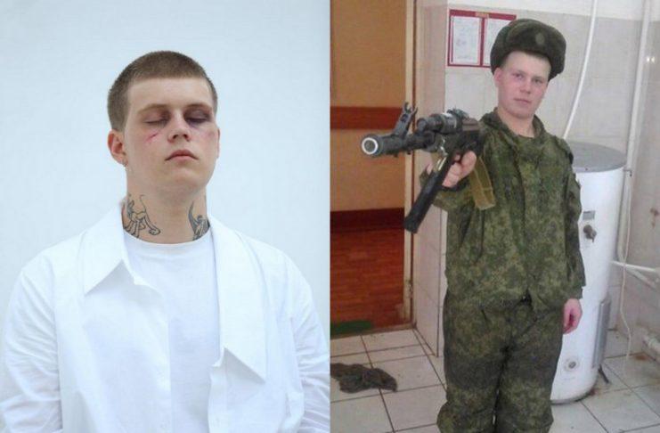 Mężczyzna w białym garniturze i mężczyzna w mundurze