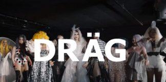 Duży napis DRAG, w tle drag qeens na czarnym tle