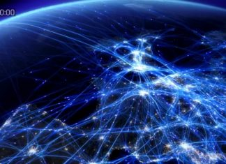 Wizualizacja, która pokazuje ruch samolotowy w Europie