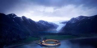 Okrągły budynek hotelu postawiony na wodzie